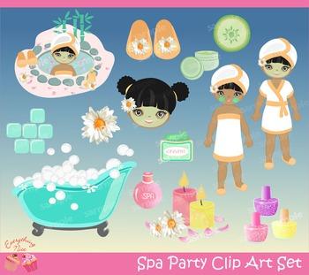 Spa Party Clipart Set