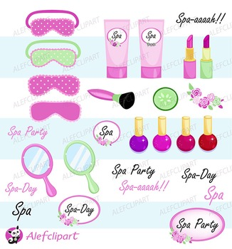 Spa Party Digital Clipart. Girls Spa Party.