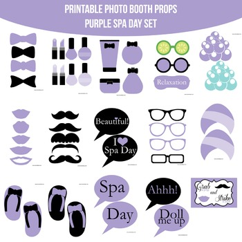 Spa Purple Printable Photo Booth Prop Set
