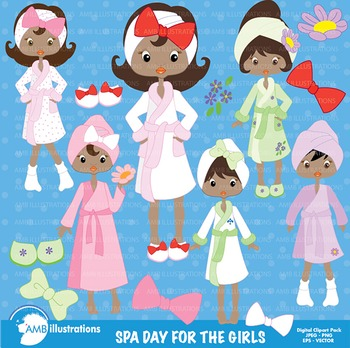 Slumber Party Clipart, Spa Day Clipart, African American C