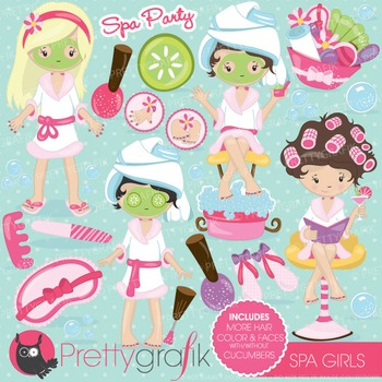 Spa girls clipart commercial use, vector graphics, digital - CL694