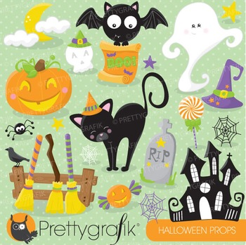 Halloween props clipart commercial use, vector graphics, d