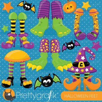 Halloween feet clipart commercial use, vector graphics, digital - CL699