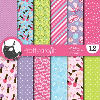 Spa girls digital paper, commercial use, scrapbook papers - PS657