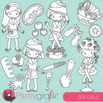 Spa girls stamps commercial use, vector graphics, images - DS694