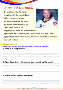 Space - A Trip to the Moon - Grade 1 (with 'Triple-Track Writing Lines')