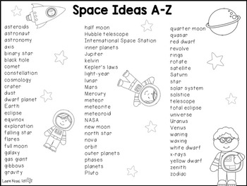 Space A-Z Book - Writing Activity about Space