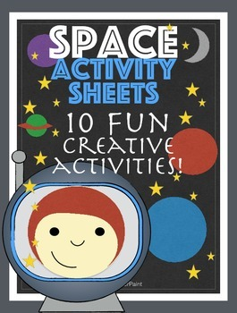 Space Activity Sheets. Pack of 10 Printables.