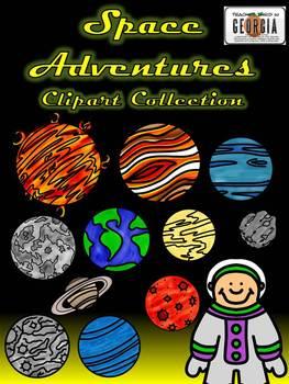Space Adventures Clip Art Collection-24 Images Line/Color Art Commercial Use