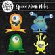 Space Alien Blobs Clip Art Set