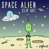 Space Alien Clip Art, UFO, Green Alien, Outer Space, Spaceship, Moon Border