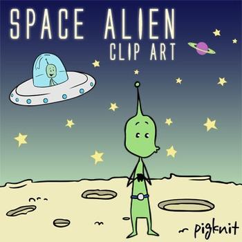 Space Alien Clip Art, UFO, Green Alien, Outer Space, Spaceship, Moon Border
