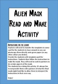 Space - Alien Mask Read and Make activity