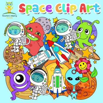 Space, Alien, Rocket, Planet Clip Art Package 64 images (color and bw)