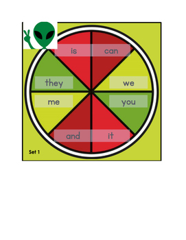 Space Alien Spin Sight word Game