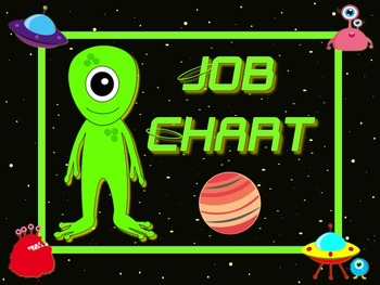 Space Alien Style Job Chart Cards / Signs - Great for Classroom Management!