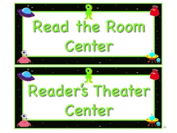 Space Alien Style Station/Center Signs Great Classroom Management!