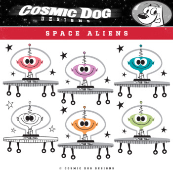 Space Aliens Clip Art Set - Fun Cartoon Graphics