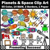 Solar System Clipart, Planets Clip Art, Rockets Aliens Astronauts Telescope SPS