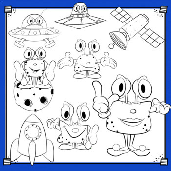 Space Aliens and Monsters Clip Art