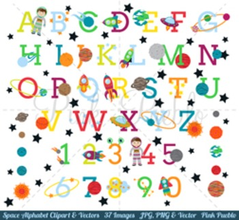 Space Alphabet Clipart, Space Alphabet Clip Art, Astronaut Clipart