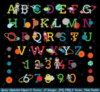 Space Alphabet Clipart, Space Alphabet Clip Art, Astronaut