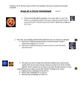 Space Area Worksheets