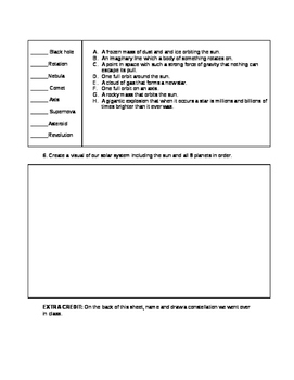 Space Assessment 5th Grade