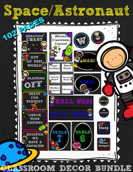 Space Astronaut Class Decor BUNDLE (planets, rockets, stars, chalkboard)