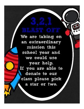Space Astronaut Classroom Wish List (orientation, open house)