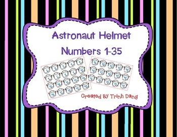 Space Astronaut Helmet Numbers 1-35