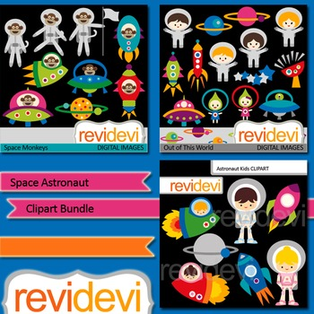Space Astronaut clip art bundle (3 packs) out of this world