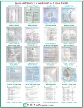 Space-Astronomy 16 Worksheet- 4 Exam Bundle