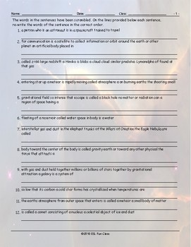 Space-Astronomy Scrambled Sentences Worksheet