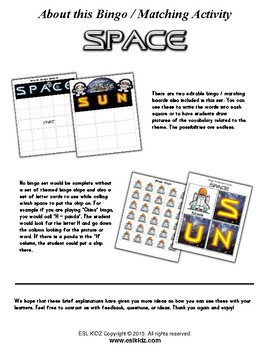Space Bingo / Matching Game