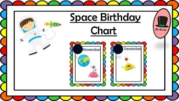 Space-Astronaut BIRTDAY display Chart Calendar- Back to school!