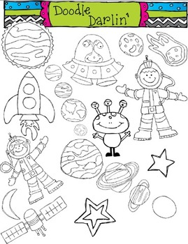 Space Blackline Clipart Set