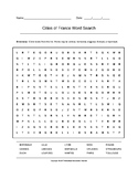 Cities of France Word Search (Grades 7-10) with Key