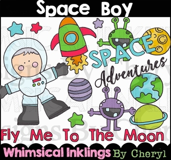 Space Boy Clipart Collection