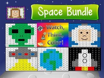 Space Bundle Watch, Think, Color Games - EXPANDING BUNDLE