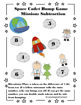 Space Cadet Subtraction Bump Game