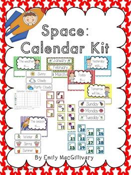 Space Kids Theme Calendar Kit