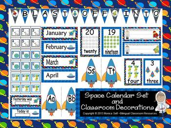 Space Calendar set and Classroom Decorations