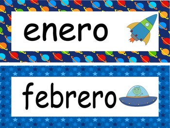 Space Calendar set and Classroom Decorations {Spanish Version}