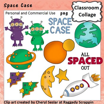 Space Case Clip Art personal & commercial use Aliens plane