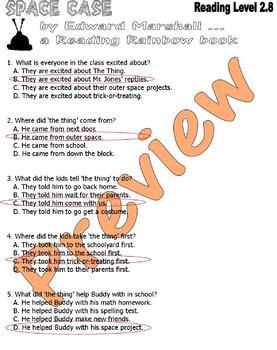 Space Case * Halloween Reading Comprehension Worksheets Quiz Sets