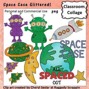 Space Case Glitter Clip Art personal & commercial use Alie