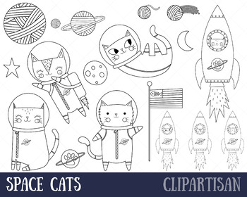Space Cats, Astronaut Clipart, Coloring Activity