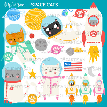 Space Cats Clip Art, Astronaut Kittens and Yarn Printable, Solar System