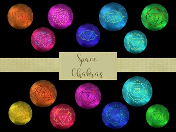 Space Chakras Digital Clip Art, High Resolution 300ppi, Separate PNG Files.
